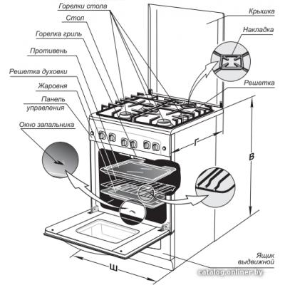 Кухонная плита GEFEST 5100-04 (чугунные решетки)
